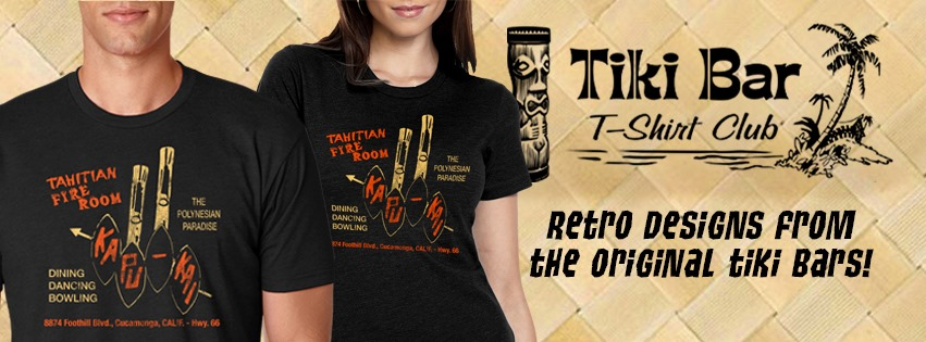 The Tahitian Fire Room looks great on this months shirt from  Tiki Bar T-Shirt Club . We love wearing the soft cotton t's that always strike up a conversation. Get just the one you want our get them all delivered each month.