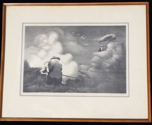 "BERNARD STEFFEN (1907-1980) USA Print ""Haying"" circa 1937 SOLD $510"