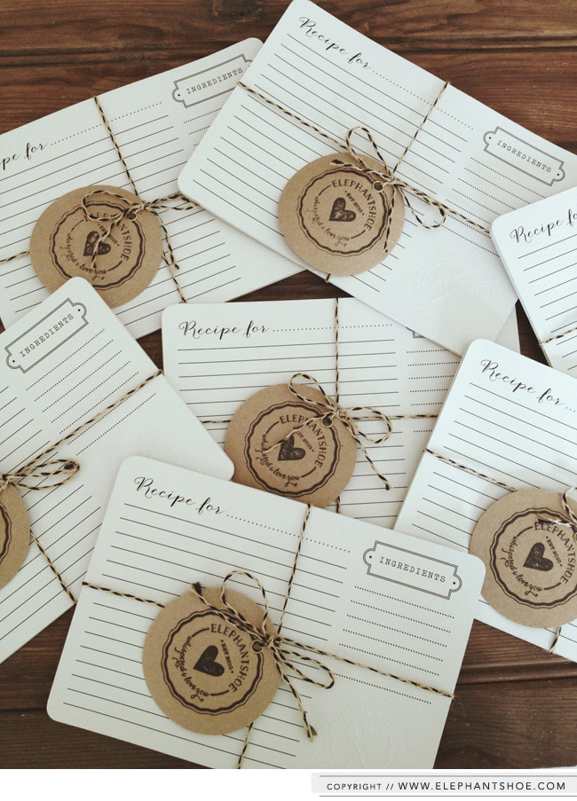 """Recipe card packs with 6 x A5 round corner cards and a """"FROM MY KITCHEN, MADE WITH LOVE"""" embossed seal in the right corner of each card. These are coming to the  Elephantshoe shoppe  soon."""