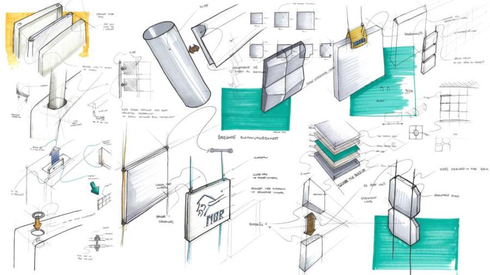 A collection og sketches from the initial phases of designing the Felt Unit