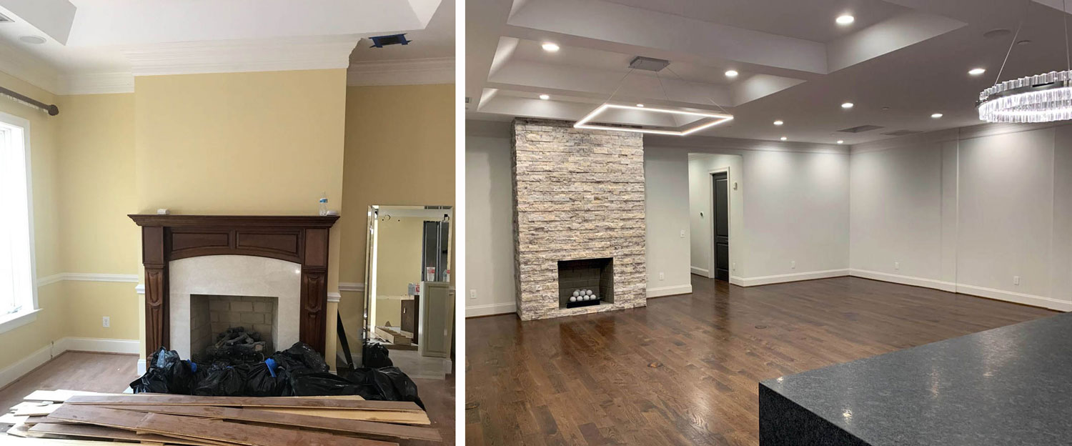 living room fireplace: before & after
