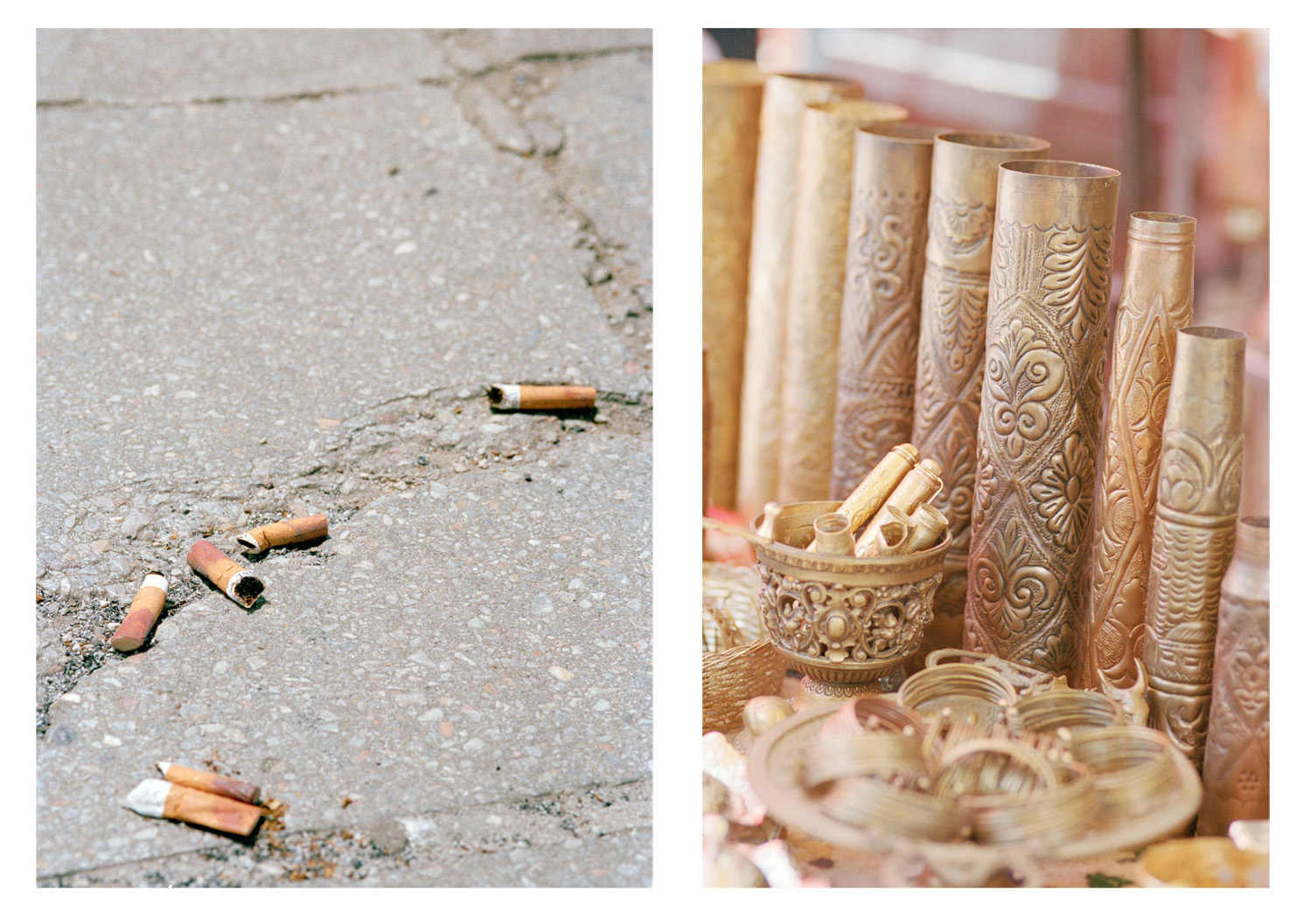 Details of a city: cigarettes with the same lipstick stain and used mortar shells, polished and decorated to be sold as souvenirs.