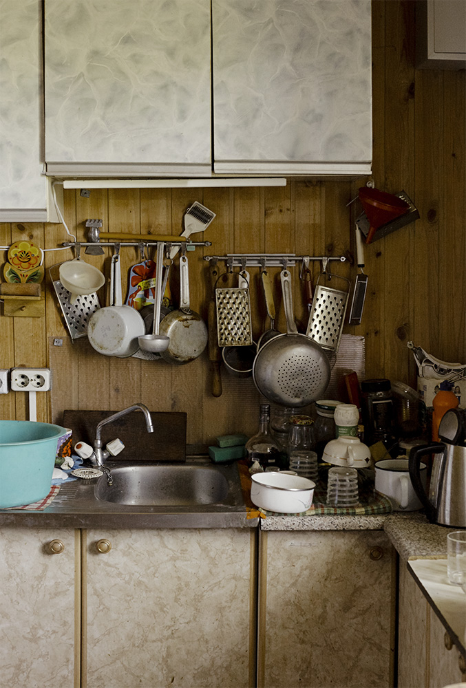 Kitchen of a summer home in Russia. In larger cities in Russia during the USSR, many were given a summer home (dacha) to grow their own food and have a place outdoors despite living in a crowded city apartment building. These dachas were vital, allowing a space to grow and store food for the winter.