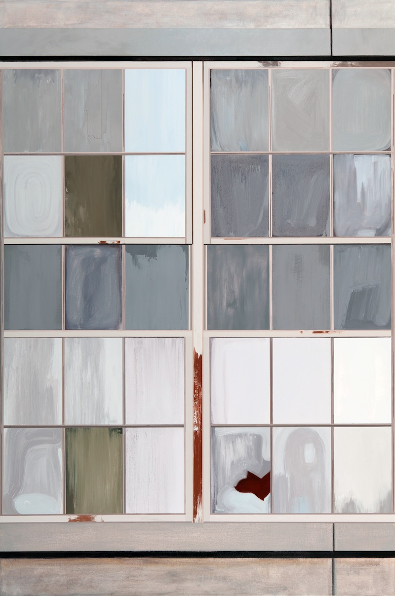 Gates Factory Window #2 (Vertical Grid) by Sarah McKenzie | Oil and acrylic on canvas