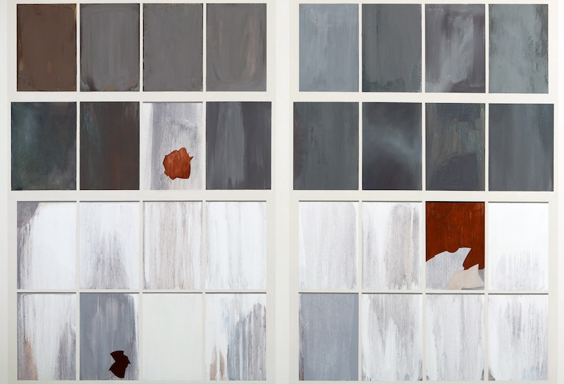 Gates Factory Window #3 (Grid with Rust) by Sarah McKenzie | Oil and acrylic on canvas