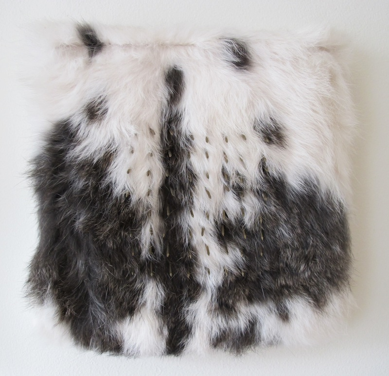 Untitled by Devin Rutz   Rabbit Fur and Brass Nails