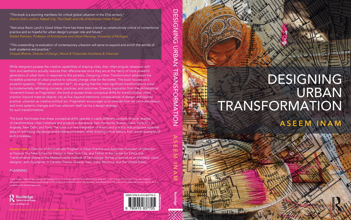The full spread of the cover of   Designing Urban Transformation  shows how the background image and foreground image[which spills over onto the back cover] work together with the placement of the texts and their colors.