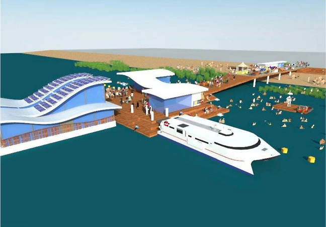 An image showing the praca flutuante [i.e. floating square] on the left, the ferry in the foreground, and the new public space--the large pier with permanent spaces for the provision for social services. Source:  Jeff Chicarelli and Gabriel de Alencar Novaes