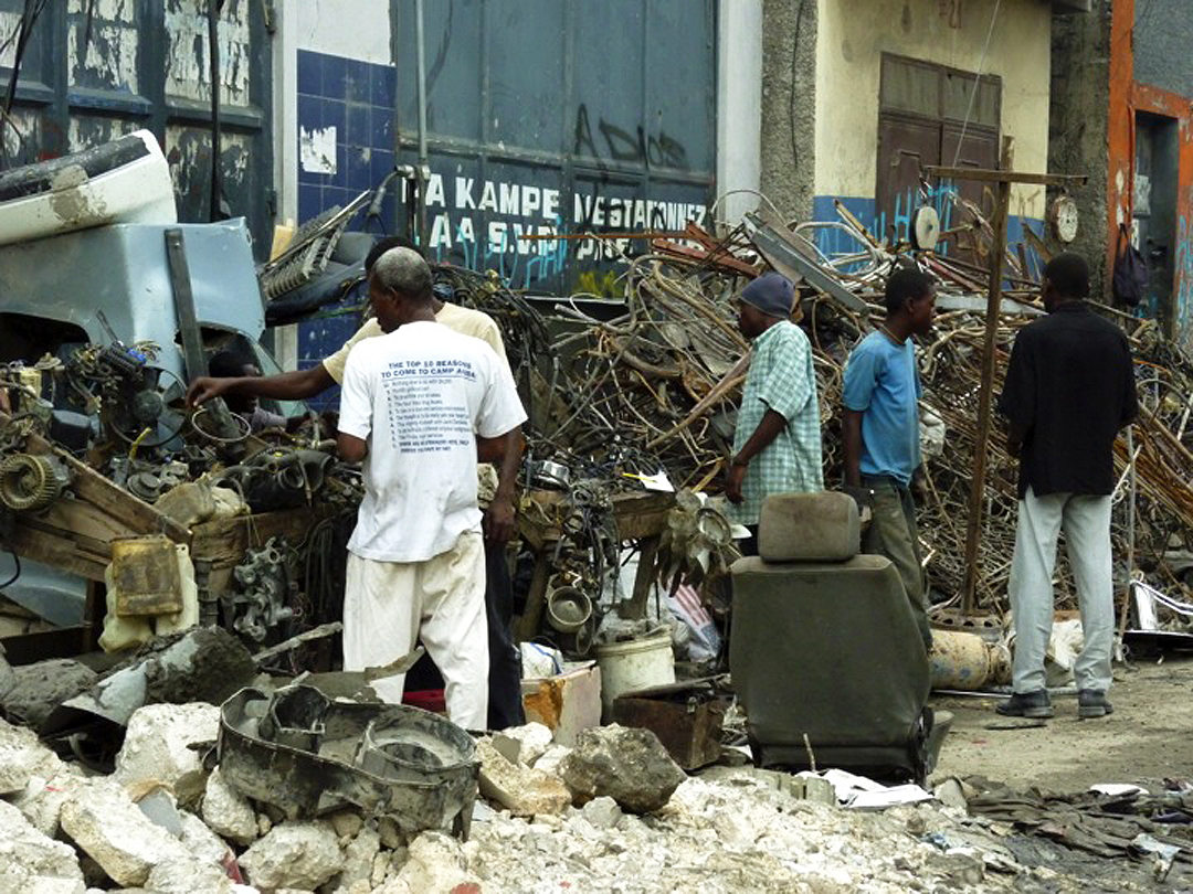 The team focused not only on the problems, but also building on what was working such as the entrepreneurship and innovation of Haitians as survival strategies.  In this image, materials are have been salvaged from collapsed and are being sold on the streets of Port au Prince. Source:  Aseem Inam.