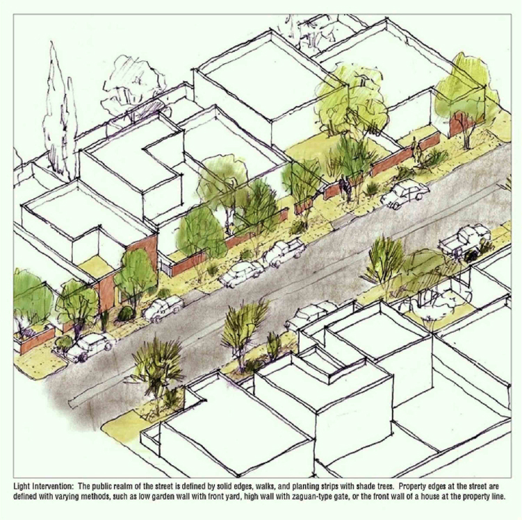 "The ""light"" level of intervention is simple and low-cost, with an emphasis on improvements to the public realm such as defining street edges with low walls, introducing sidewalks, and planting strips.  Source:  Moule and Polyzoides Architects and Urbanists"