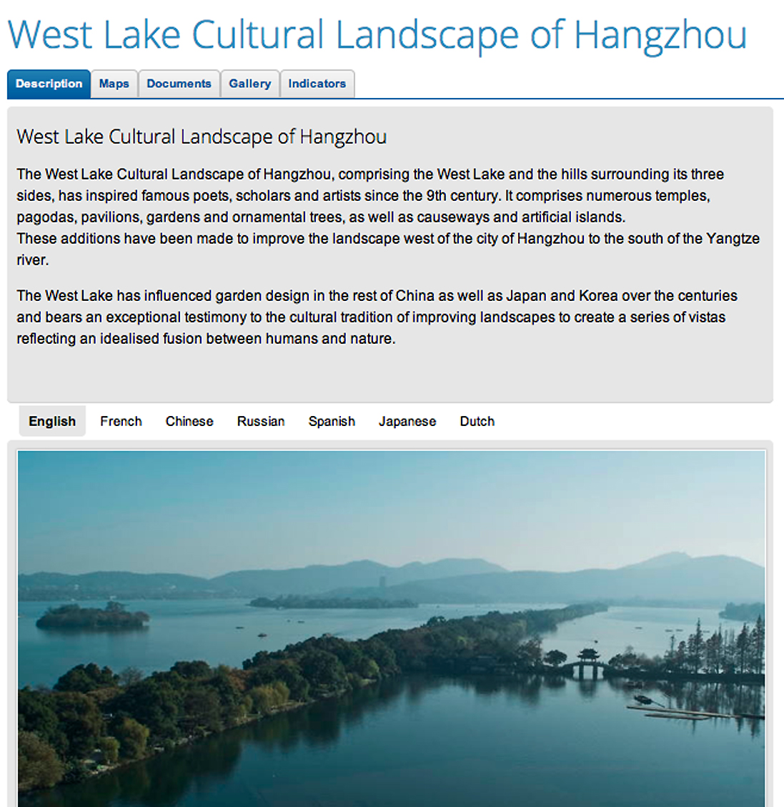 An example of a UNESCO designated cultural heritage park is the West Lake Cultural Landscape of Hangzhou in China.  Such designations allow for administrative, legal and financial mechanisms to create and manage the park.  Source:  UNESCO.
