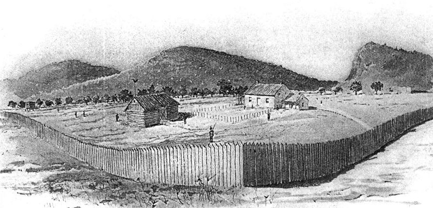 "Middle Fort, or ""Fort Defiance"" by R.L. Adams from a sketch by R.A. Grider"