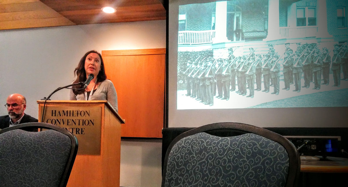 """Janis Monture speaking about the legacy of the Mohawk Institute Residential School at the """"New Relevance for Historic Sites"""" seminar."""