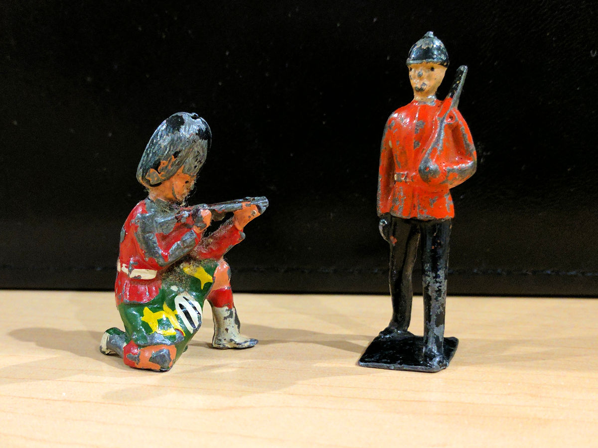 Old lead toy soldiers found beneath the floorboards of the John Brown House master bedroom (March 2017).