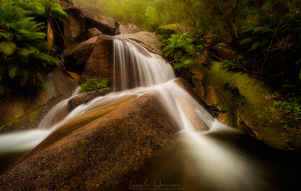 Eurobin Falls, Mt Buffalo, Victoria. Drove for 5 hours and then realized I'd left the tripod at home. Saw a kid walking on the side of the road with a $50 tripod, bought it off him for $100, then threw it in the bin when I got home.