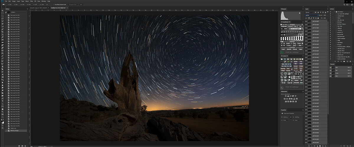 Strartrails tutorial, startrail colours, startrails processing tutorial, how to edit startrail images.
