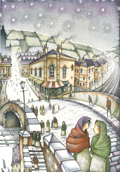 'Arriving For The Shift' (Saltaire / Titus series)  A6 Greetings Card