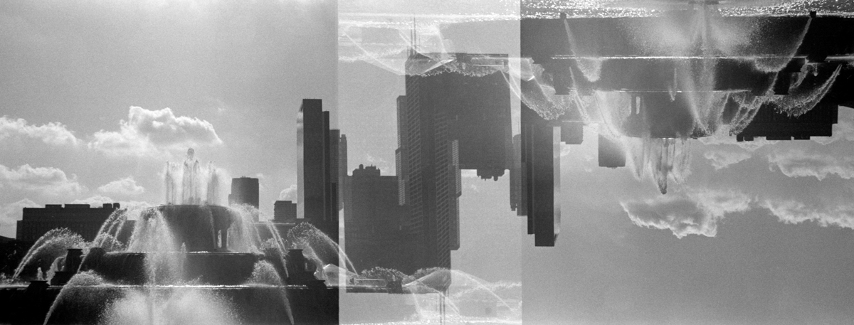 Buckingham Fountain double exposure  Ilford HP5+