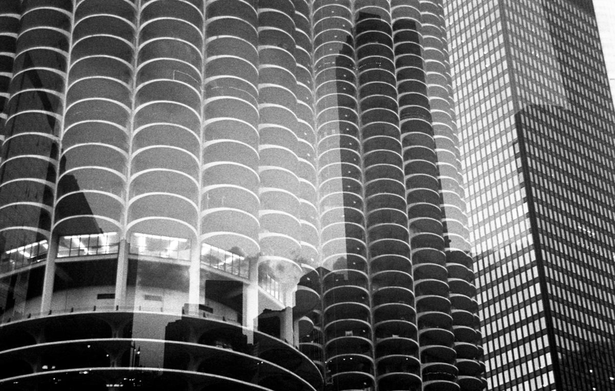 Marina Towers + skyline double exposure Ilford HP5+
