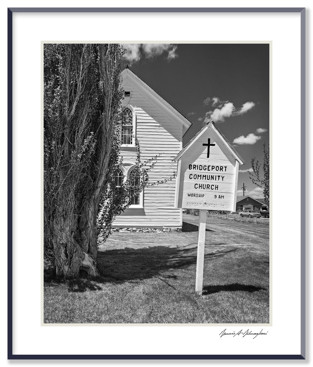 "Bridgeport Community Church - Bridgeport, California   Sign of the times - ""Sunday School 10am"" (painted over)"