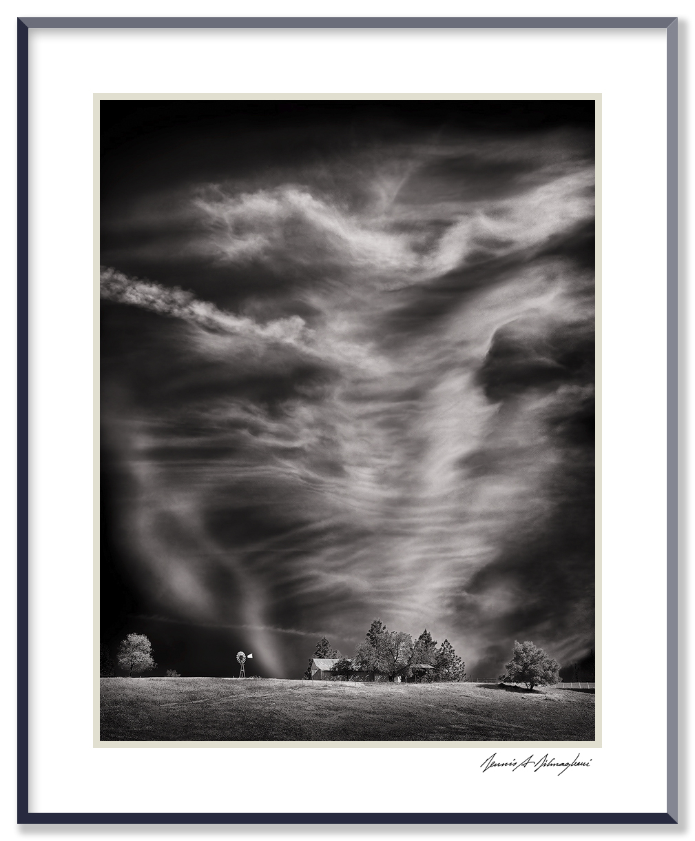 """Dancing Clouds / Active Sky - near Sutter, California   An array of clouds and air currents above a hilltop farm displayed a wonderful """"dancing"""" quality. The patterns were very soft and subdued against a bright blue mid-morning sky. Filtration was necessary to darken the sky to reveal the formations."""