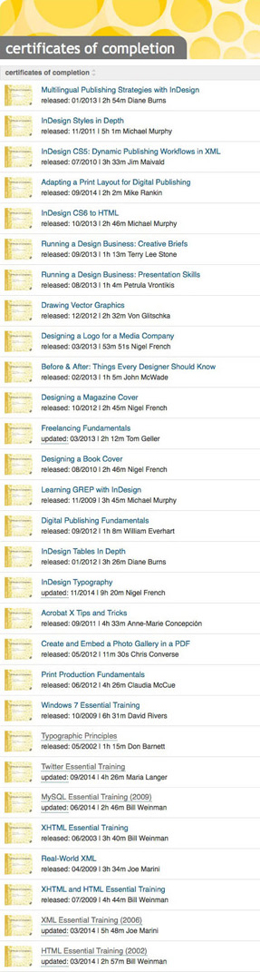 A list of the online learning Courses I have completed. I like learning new stuff.