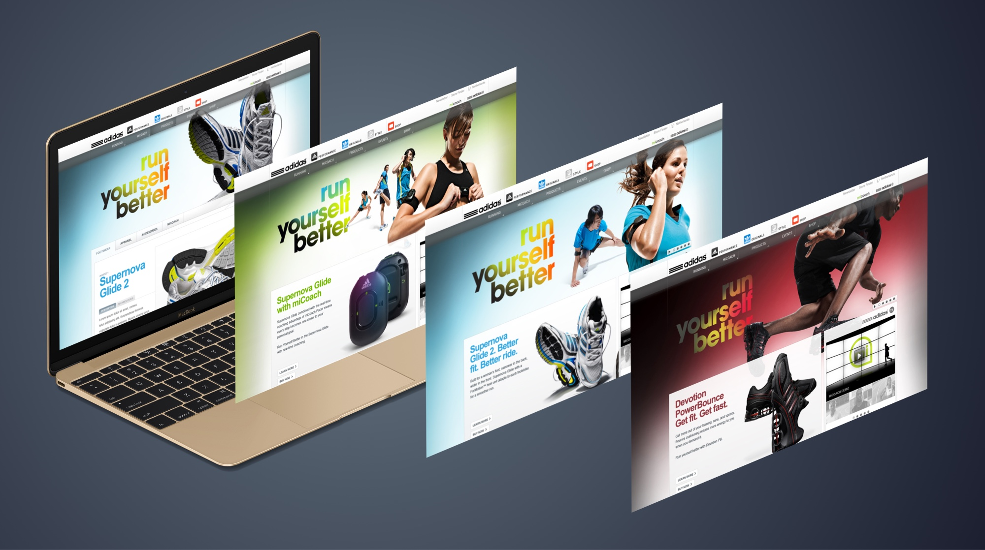Redesign every sports vertical for adidas.com including: Running, Basketball, Football (Soccer), Women's Fitness, Stella McCartney.
