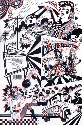 3-D Fold-out poster/cd cover, Bad Girls Go To Hell , The Degenerettes.  Concept/Design, Kristen Anchor Illustration, Emily C-D ( www.emilycd.com )