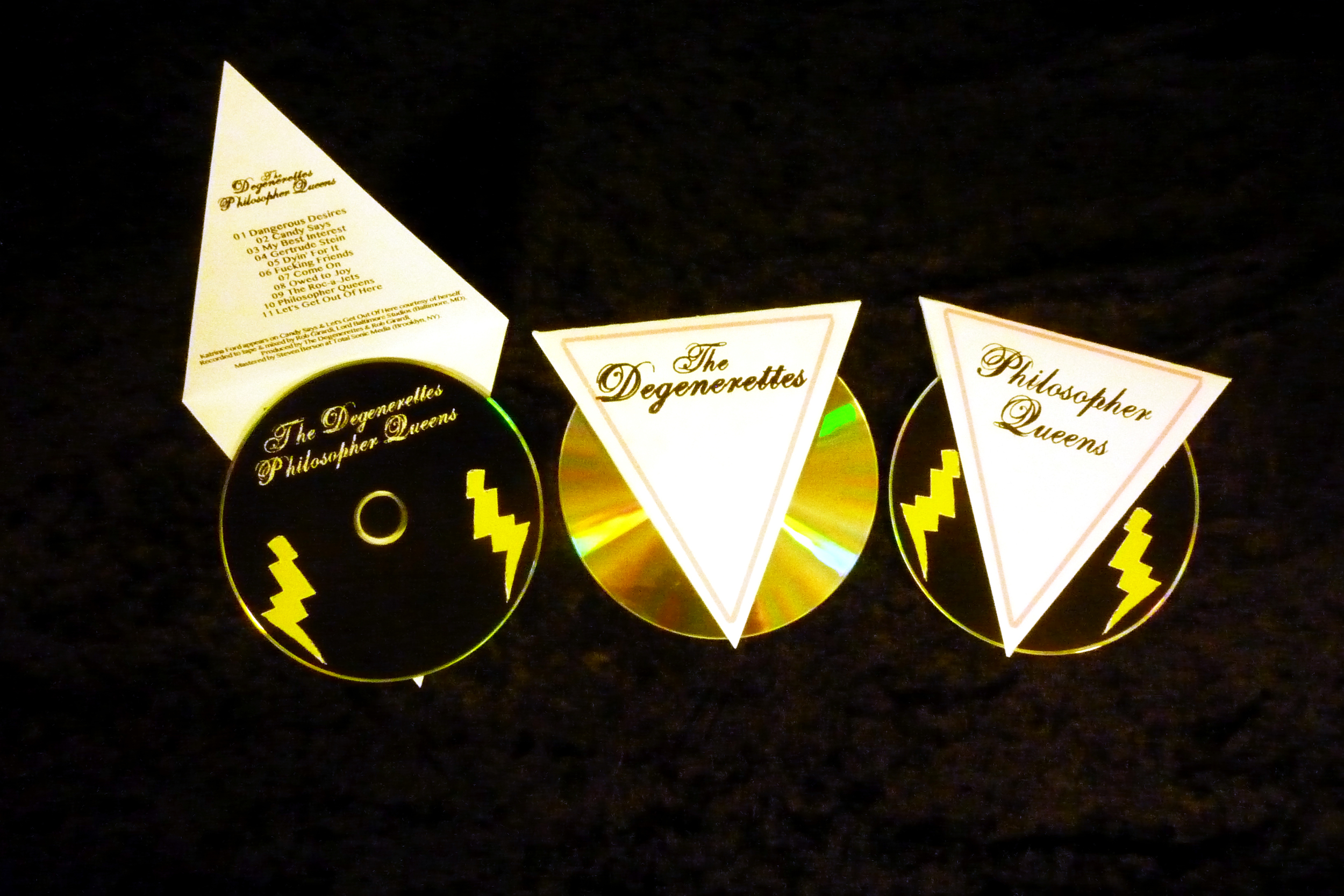 The Degenerettes  Philosopher Queens , hand-printed and cut CD covers.