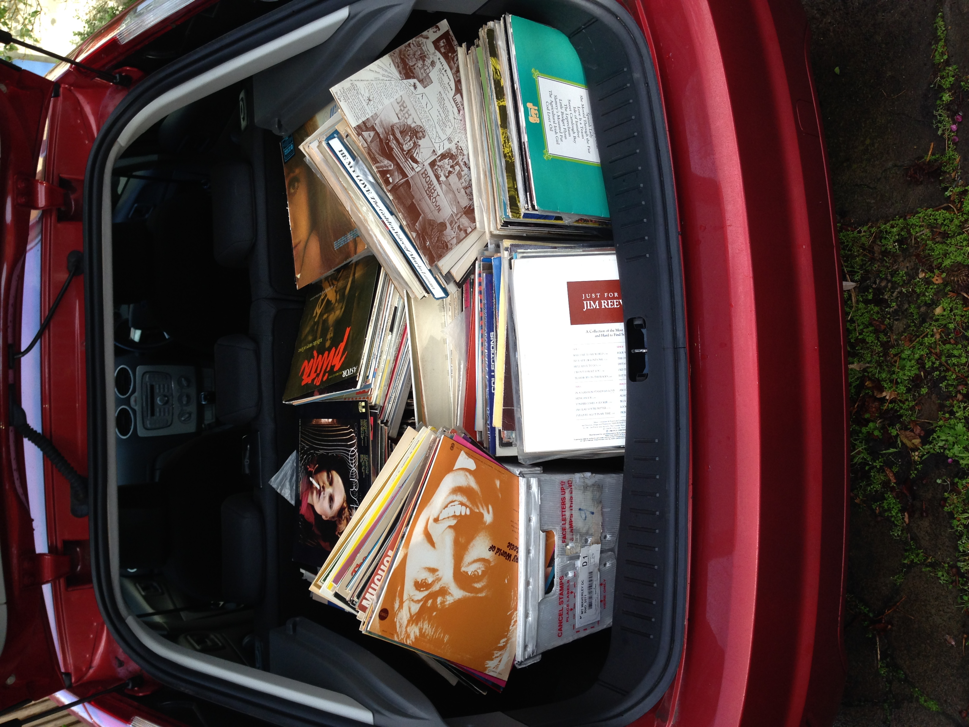 A boot load of vinyl ... Literally.