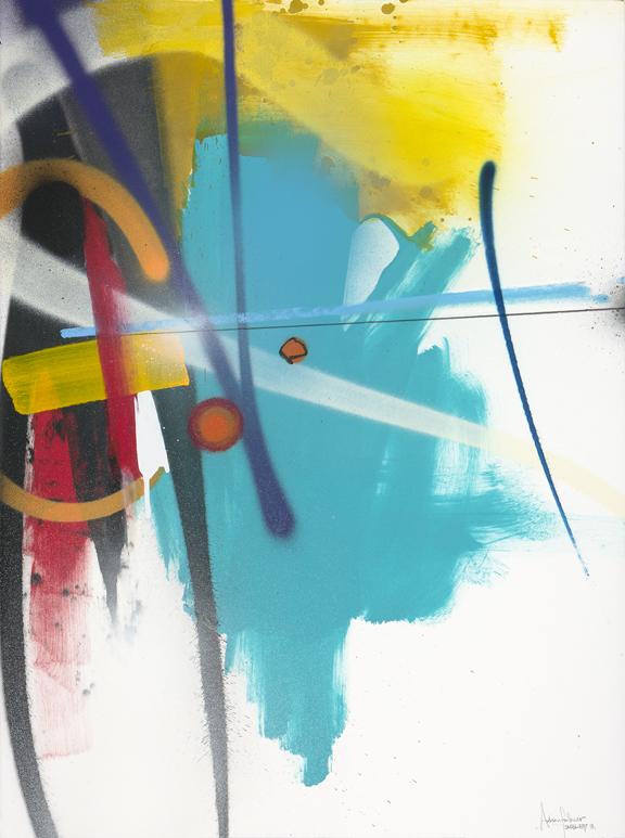 "Adrian Falkner / Smash137 Vector (2013) Spray Paint, Acrylic, Ink, Oil Crayon, Pencil on Handmade Paper 30"" x 22"" (Framed)"