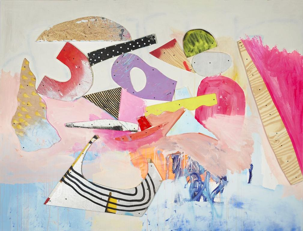 Untitled,  2015 Acrylic, Latex Paint, Ink, Plywood, Screws and Spray Paint on Panel 72 x 96 inches