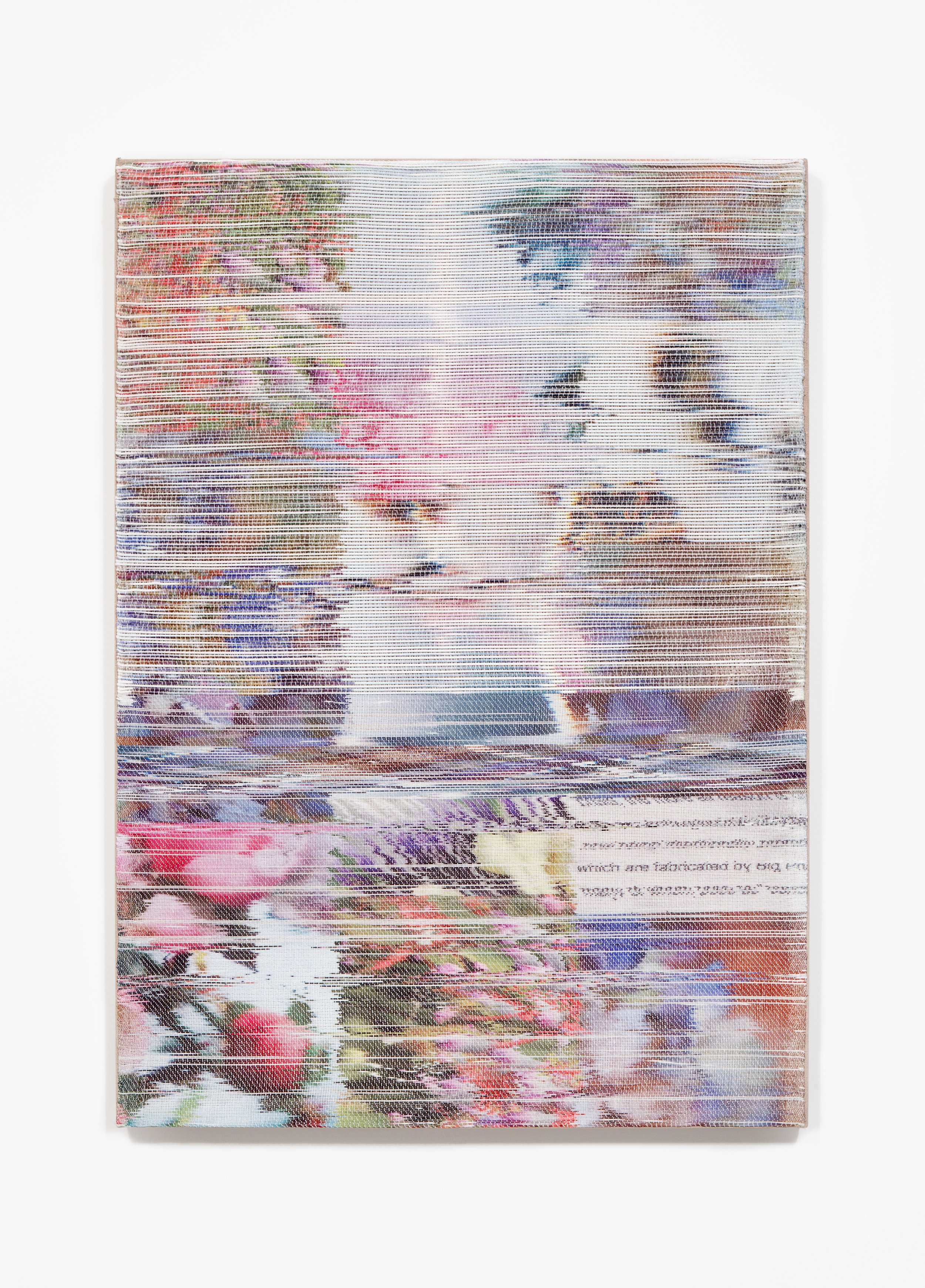 Margo Wolowiec:   Omen,  2018 Handwoven polymer, linen, sublimation dye, acrylic ink 38h x 28w inches
