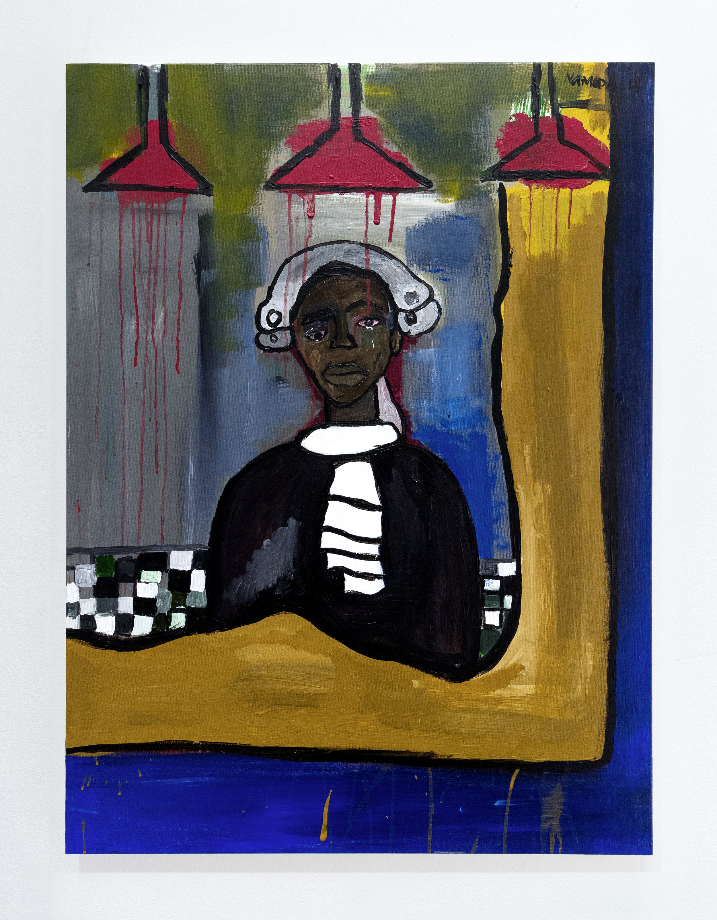 Cassi Namoda:   Doorman Lost in Reflection at Bar Texas , 2018 Acrylic on canvas 40h x 30w inches