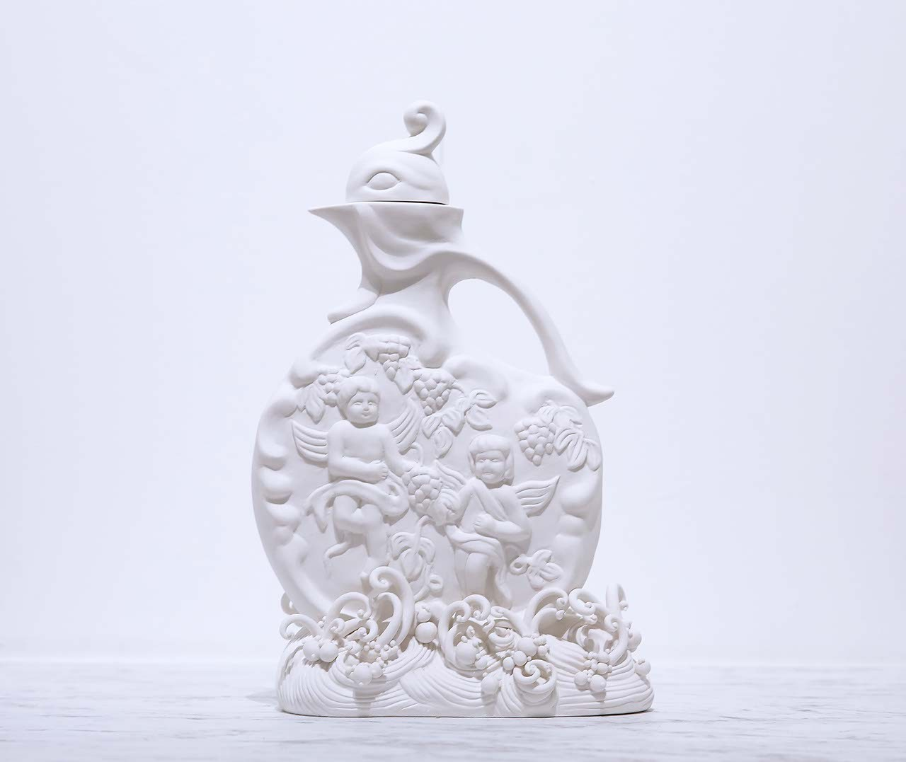 Carlos Rolón :  Remnants From Father (Rooster Decanter) , 2014 Porcelain with carved pattern 17h x 5w x 5d inches
