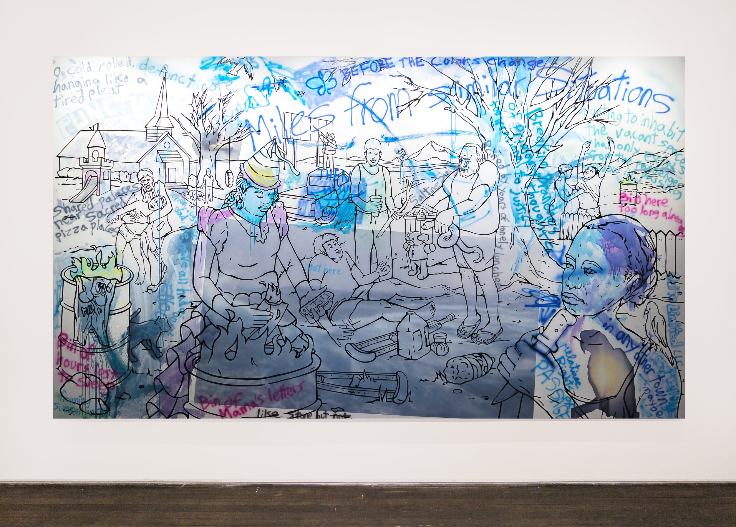Willie Wayne Smith:   Lots of Empty Lots , 2017 Acrylic and air-brushed acrylic on canvas 84h x 144w inches