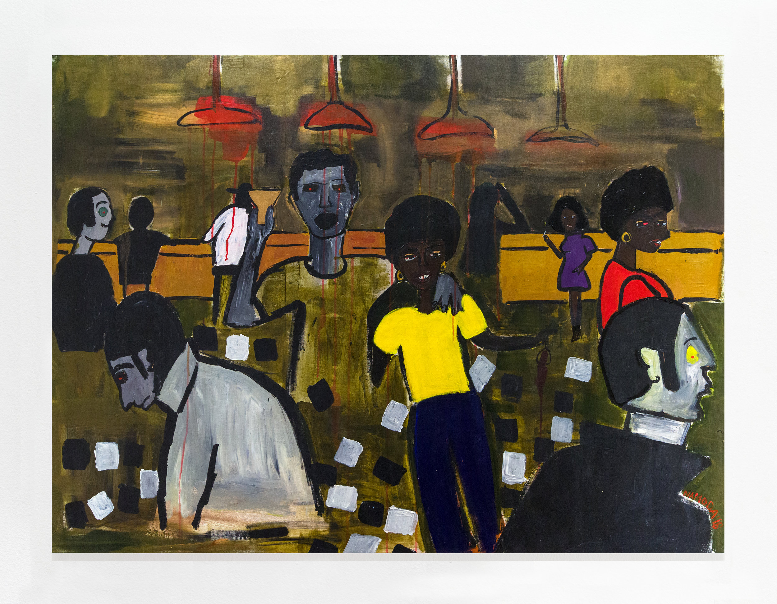 Cassi Namoda:   Texas Bar 1971, Maputo City , 2018 Acrylic on canvas 41h x 55w inches