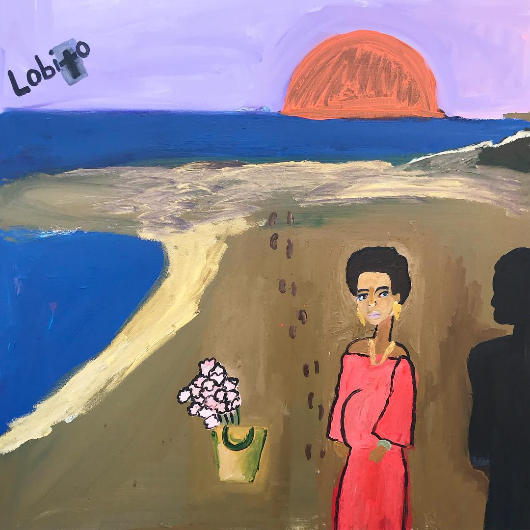 Cassi Namoda  -  Atlantic at moonset in Lobito -two lovers implored. (A beautiful pregnant woman being charmed with pink flowers and the ocean by a man) , 2017 Acrylic on canvas 30h x 40w inches