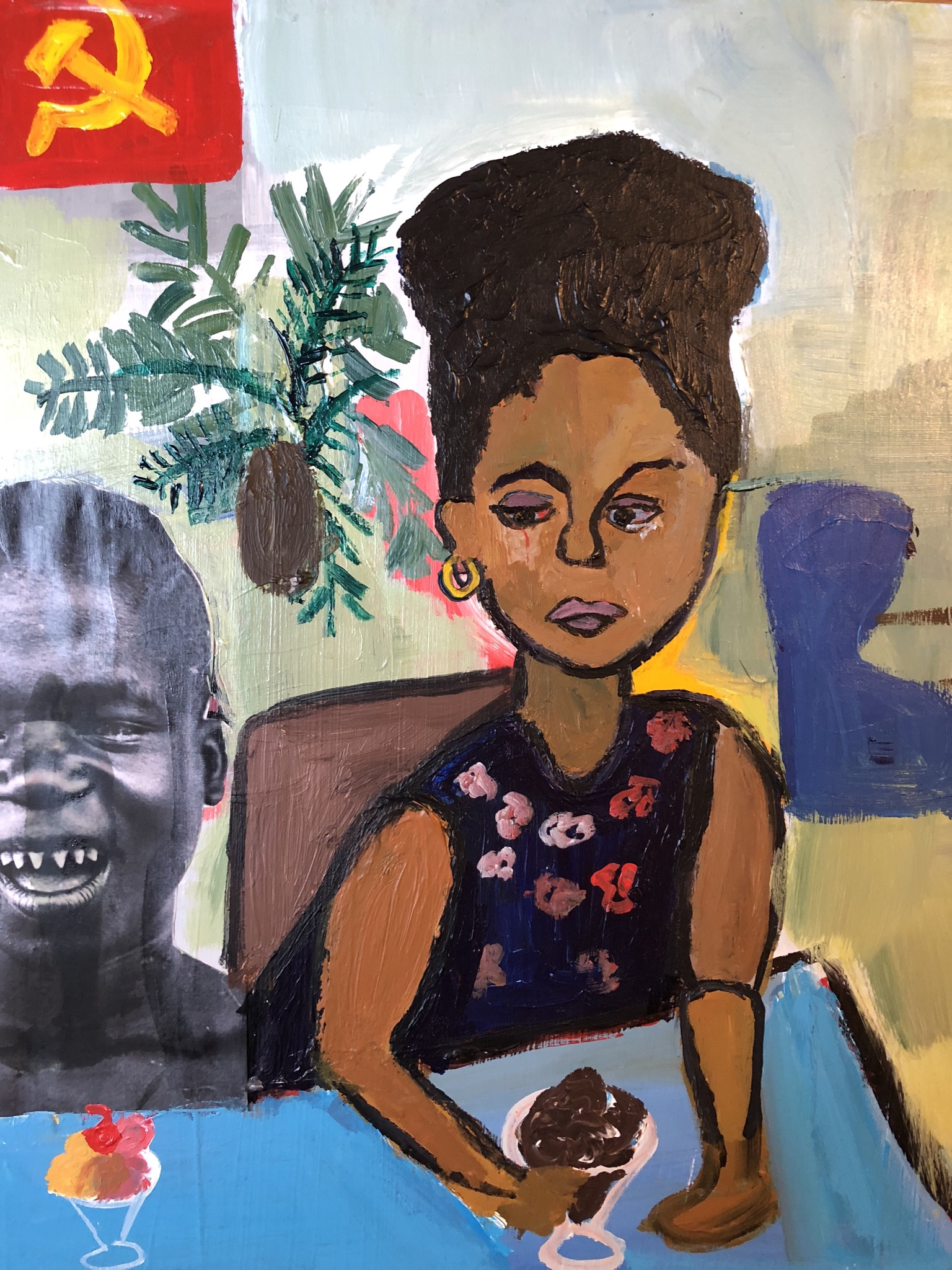 Cassi Namoda  -  Ice cream in Mozambique , 2018 Acrylic and collage on panel  14h x 11w in