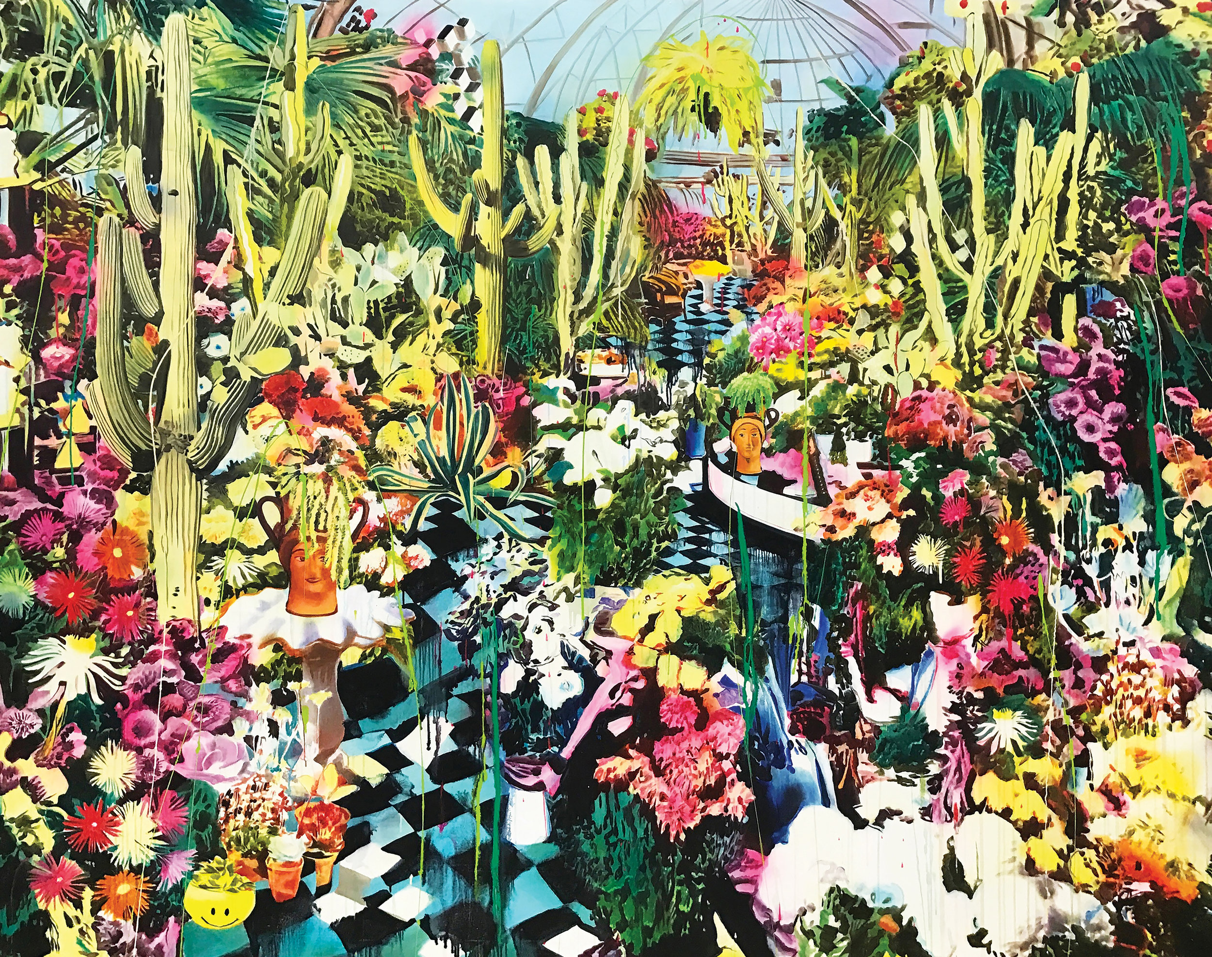 Rosson Crow  -  Belle Isle Conservatory , 2018 Acrylic, spray-paint, photo transfer, oil, and enamel on canvas 87h x 110w inches