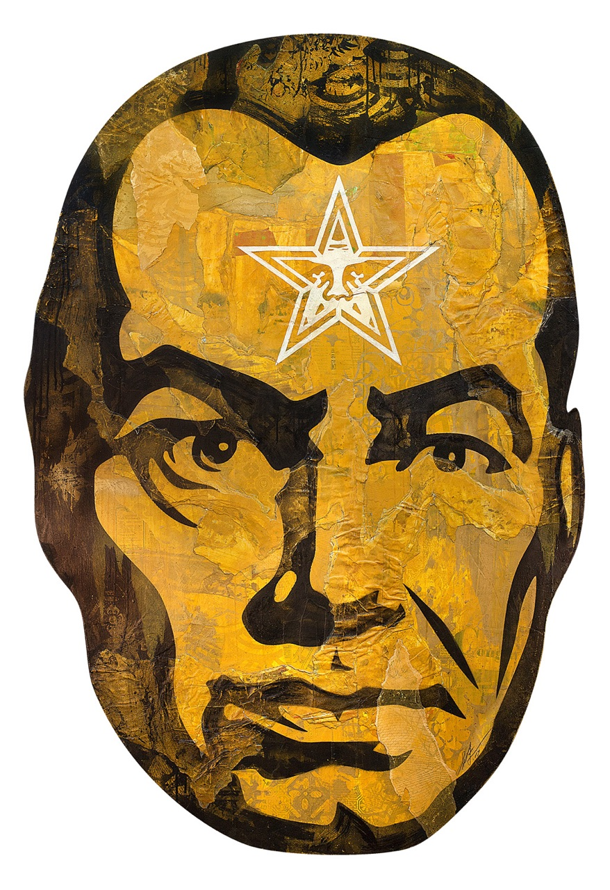 Shepard Fairey:   Big Brother (Gold) , 2017 Mixed Media (Stencil, Silkscreen, and Collage) on Die Cut Panel 60h x 41w inches