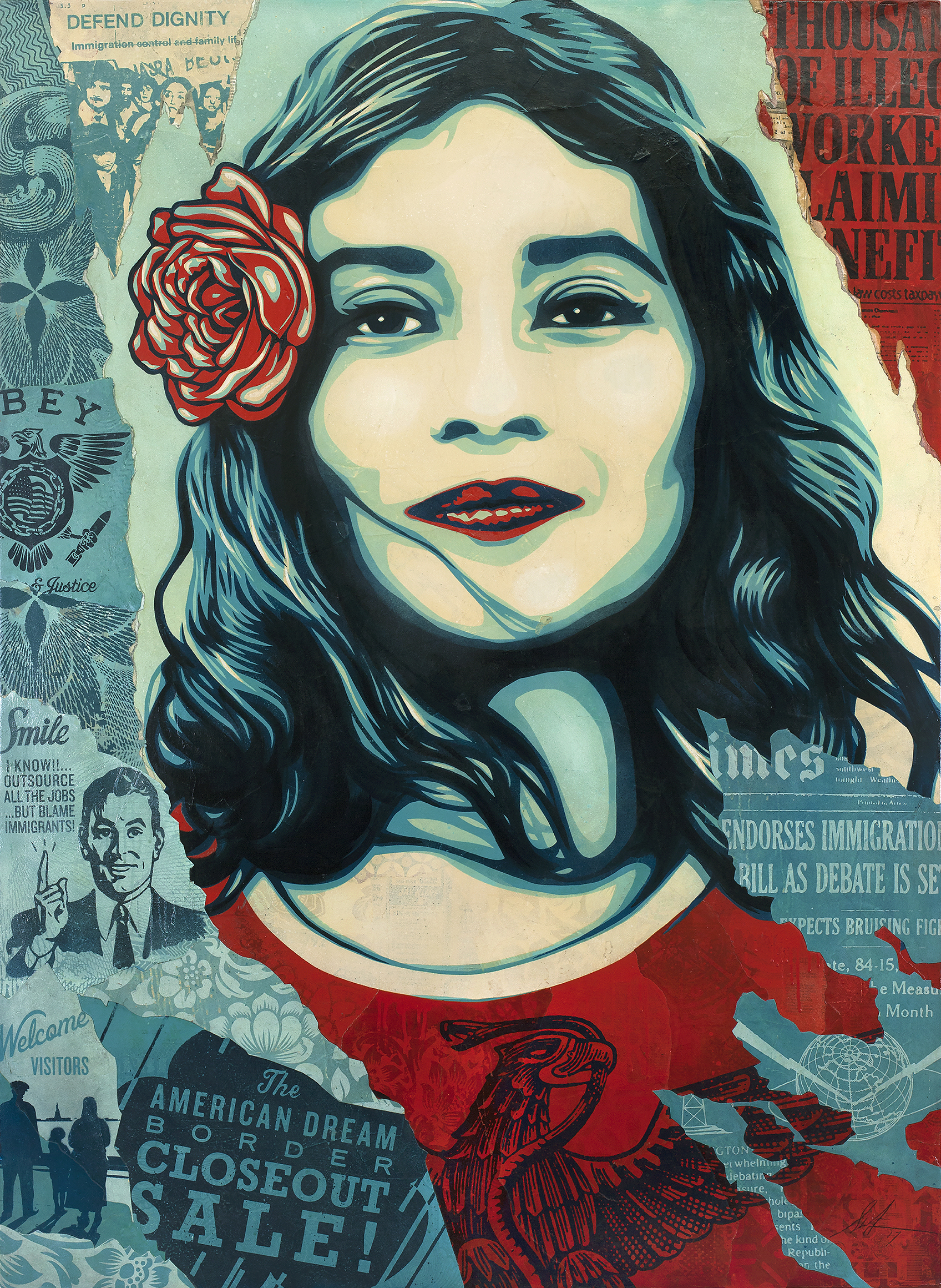 Shepard Fairey:   Defend Dignity , 2017 Mixed Media (Stencil, Silkscreen and Collage on Canvas) 60h x 44w inches