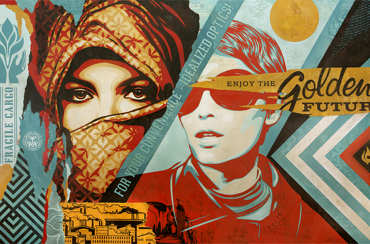 Shepard Fairey:   Golden Future , 2017 Mixed Media (Stencil, Silkscreen and Collage on Canvas) 58h x 88w inches