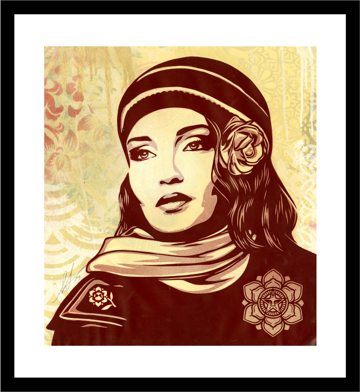 Shepard Fairey:   Environmental Warrior , 2017 Handcut Rubylith Illustration 21.25h x 19.50w inches