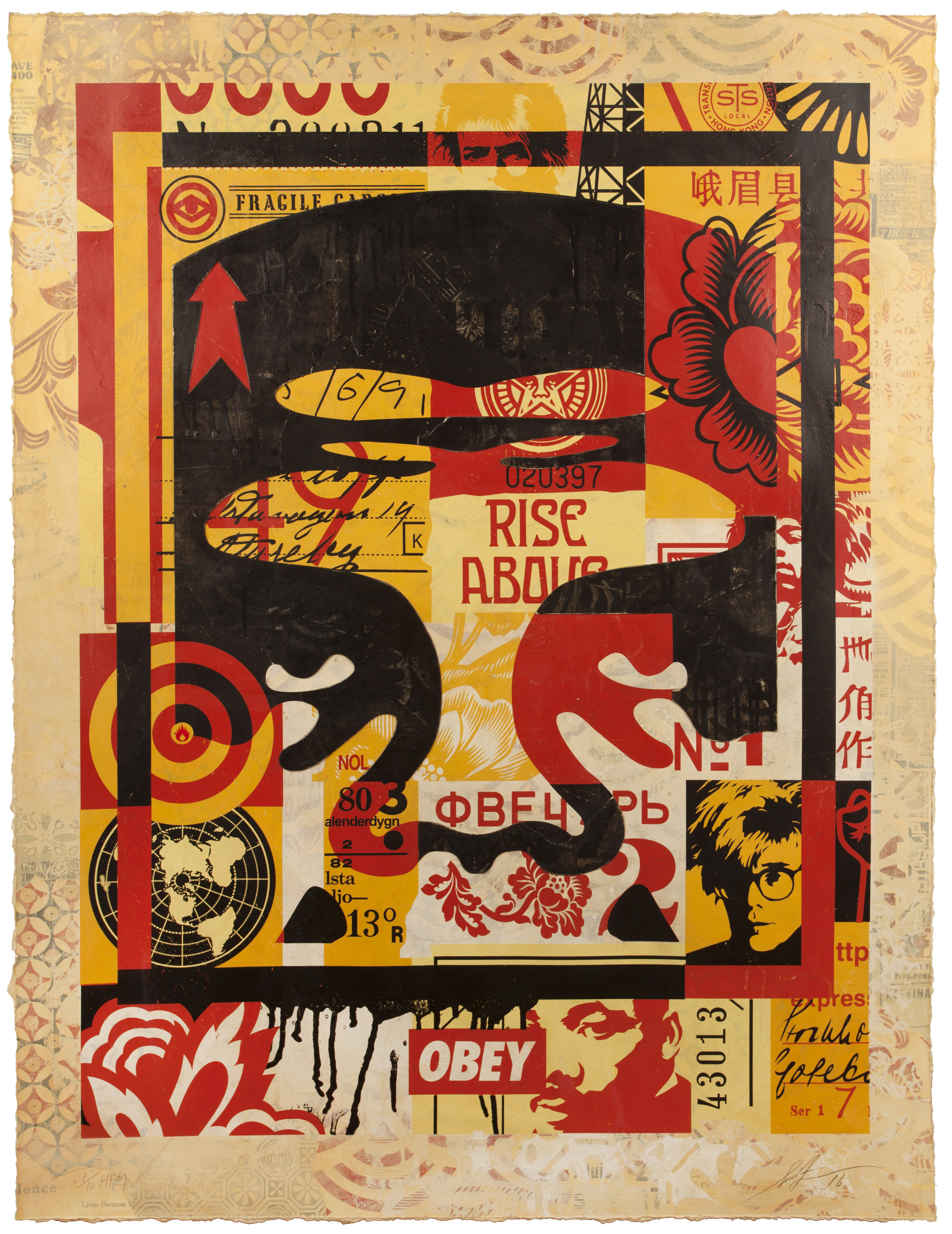 Shepard Fairey:   Icon Collage (Top) (Edition of 10) , 2017 Silkscreen and Mixed Media Collage on Paper, HPM 38.75h x 30w in