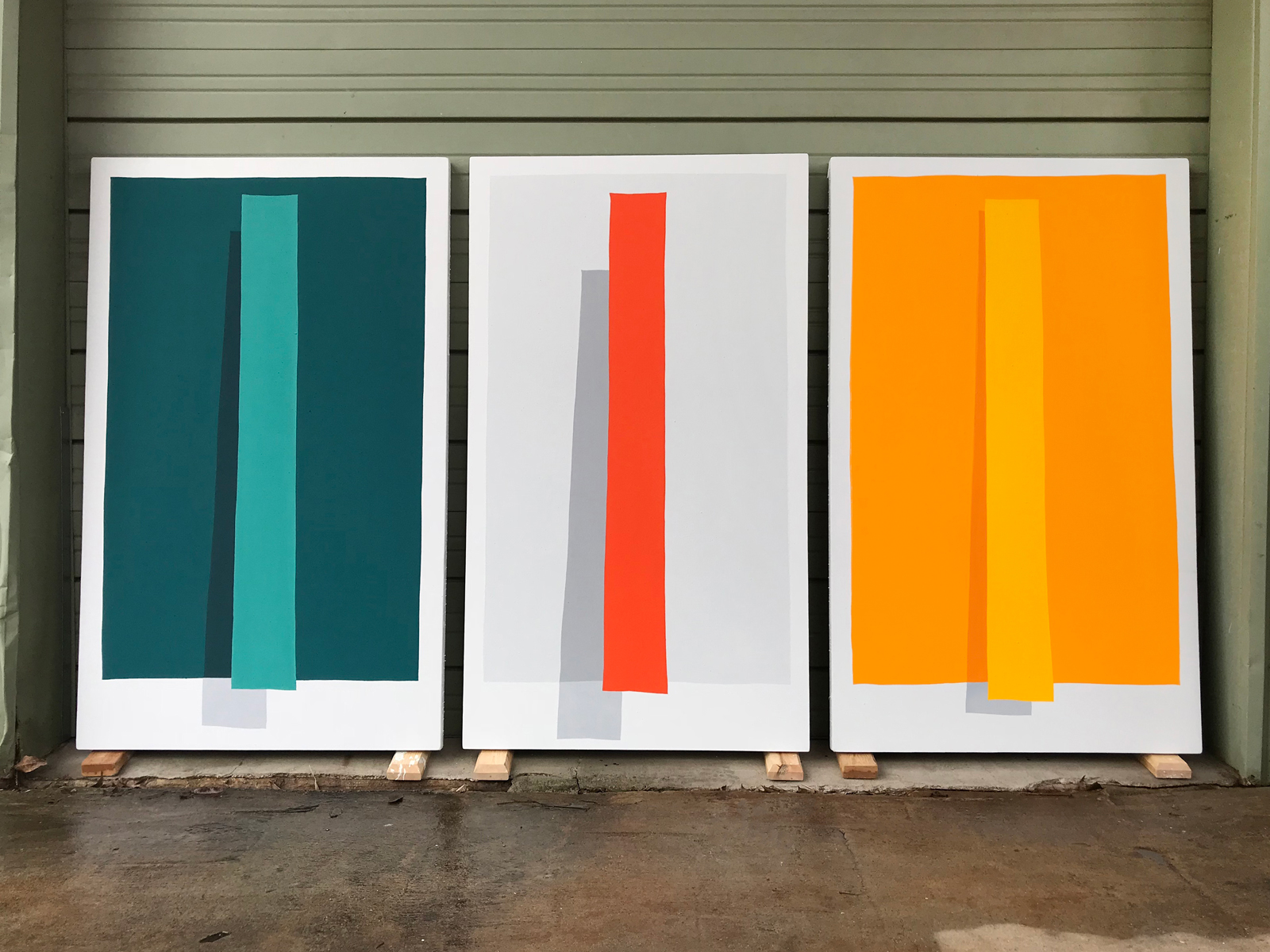 Paul Kremer:   Hover Weights (triptych) , 2018 Acrylic on canvas 60 x 109 inches