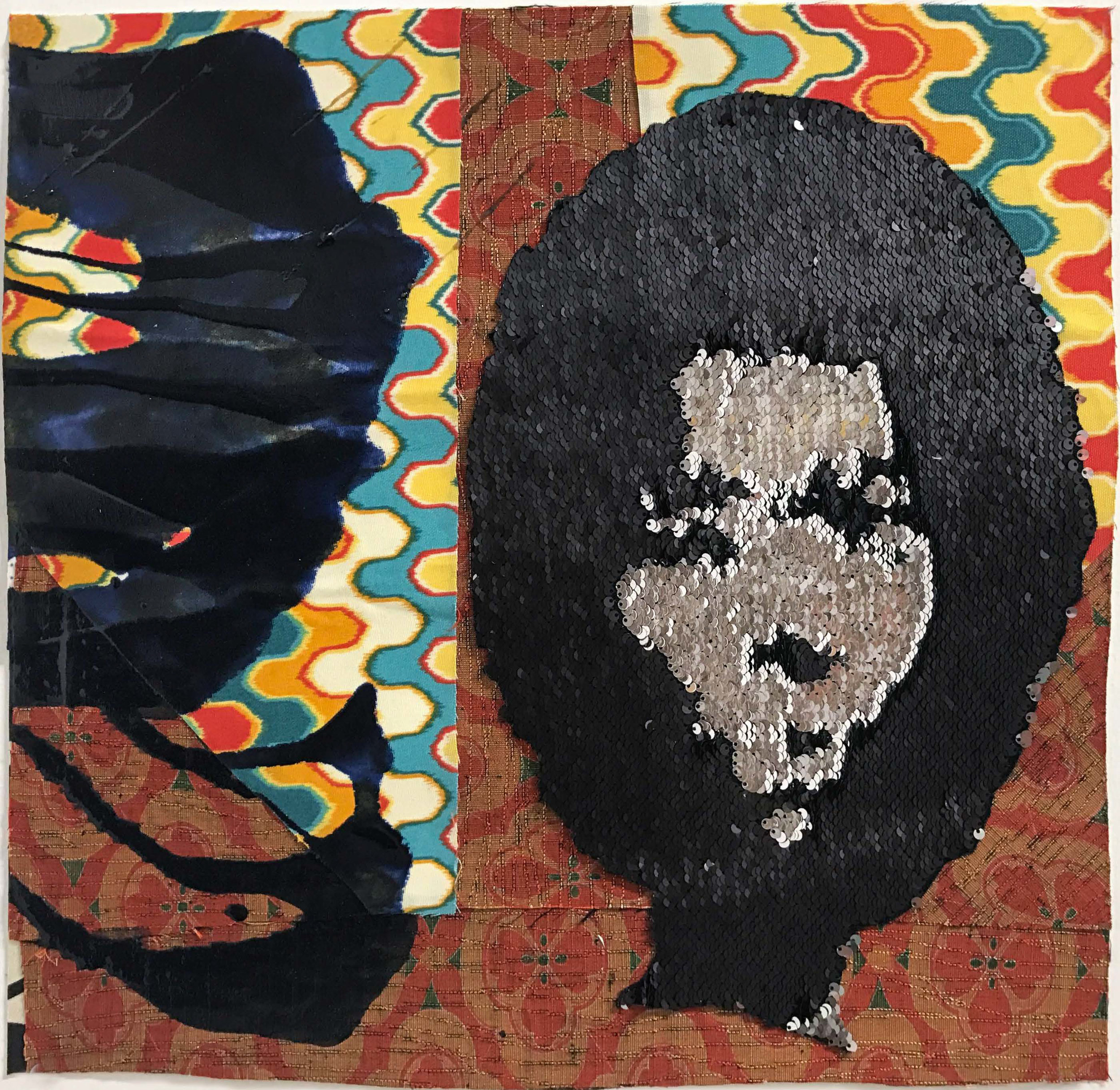 Sanford Biggers:   Cameo , 2017 Fabric, acrylic, sequins on archival paper 18h x 18.50w inches