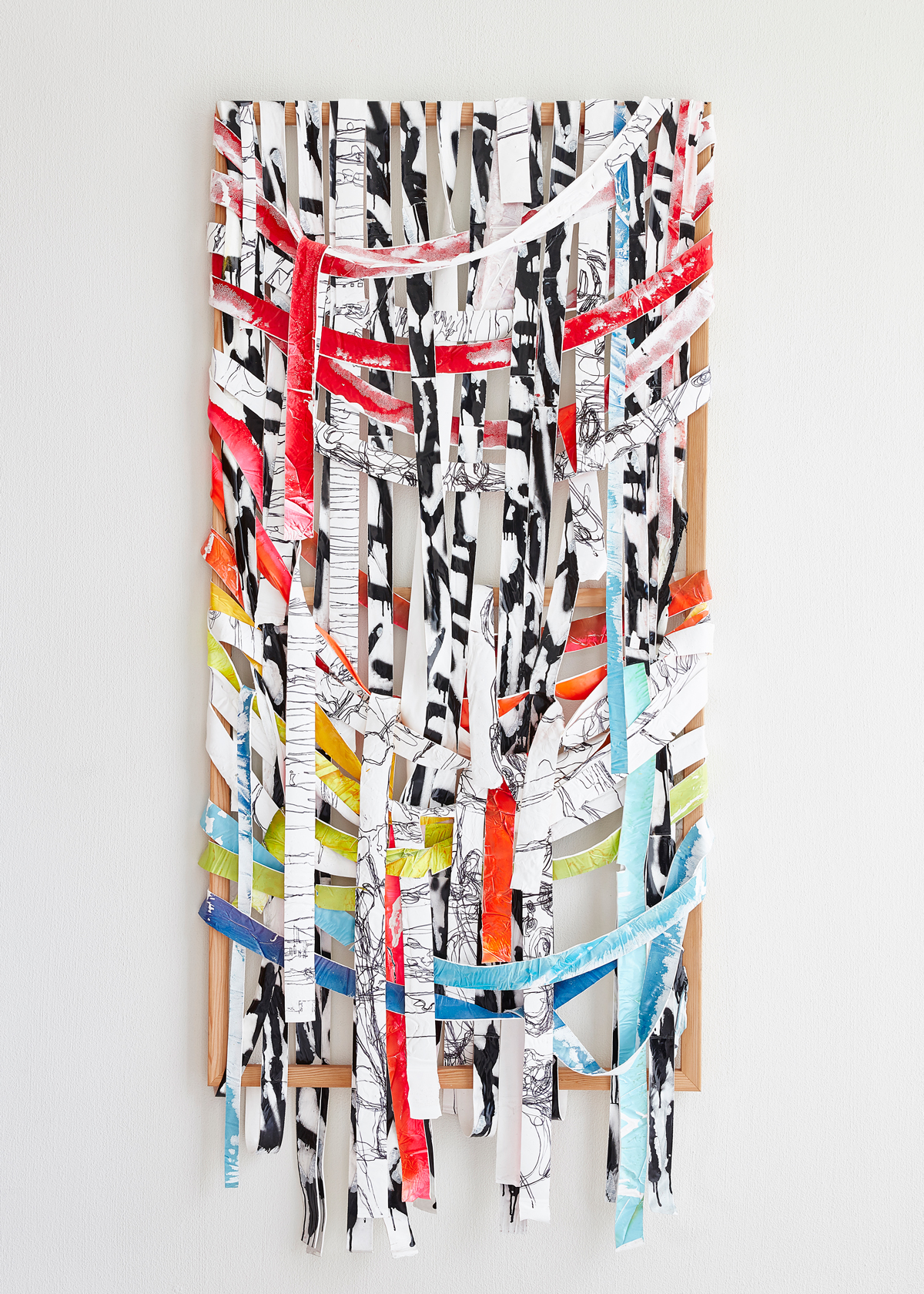 Kendell Carter:   WEave Painting (Truth Exists in the Pairing Mode) , 2015 Latex, aerosol, wood 81h x 32w inches