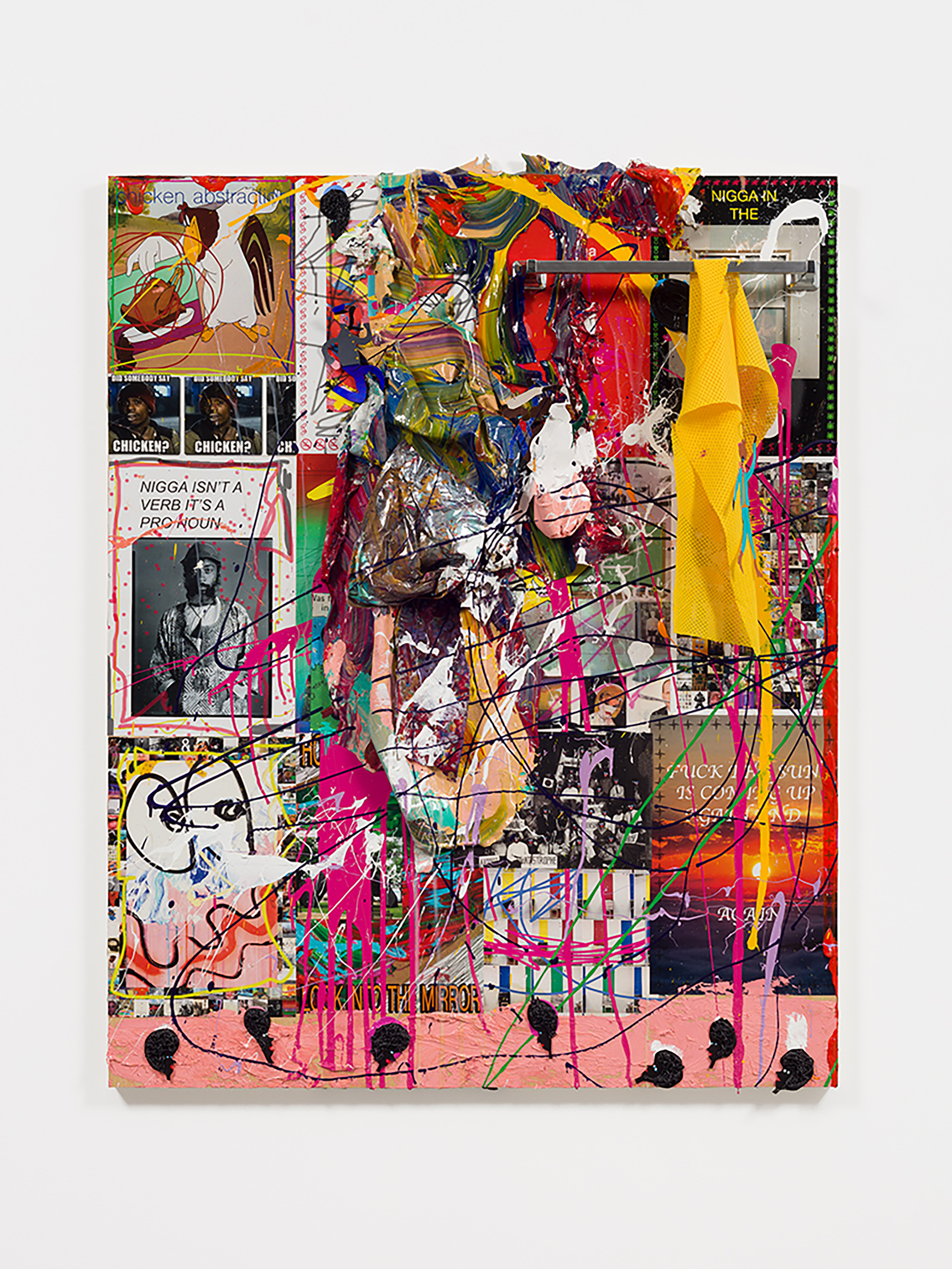 """Devin Troy Strother  -  Appropriation: Part 8 """"Can we Swop Races for the day?"""" (Just for a lil bit, a hour tops),  2017 Mixed media on panel 62h x 48w x 5d inches"""