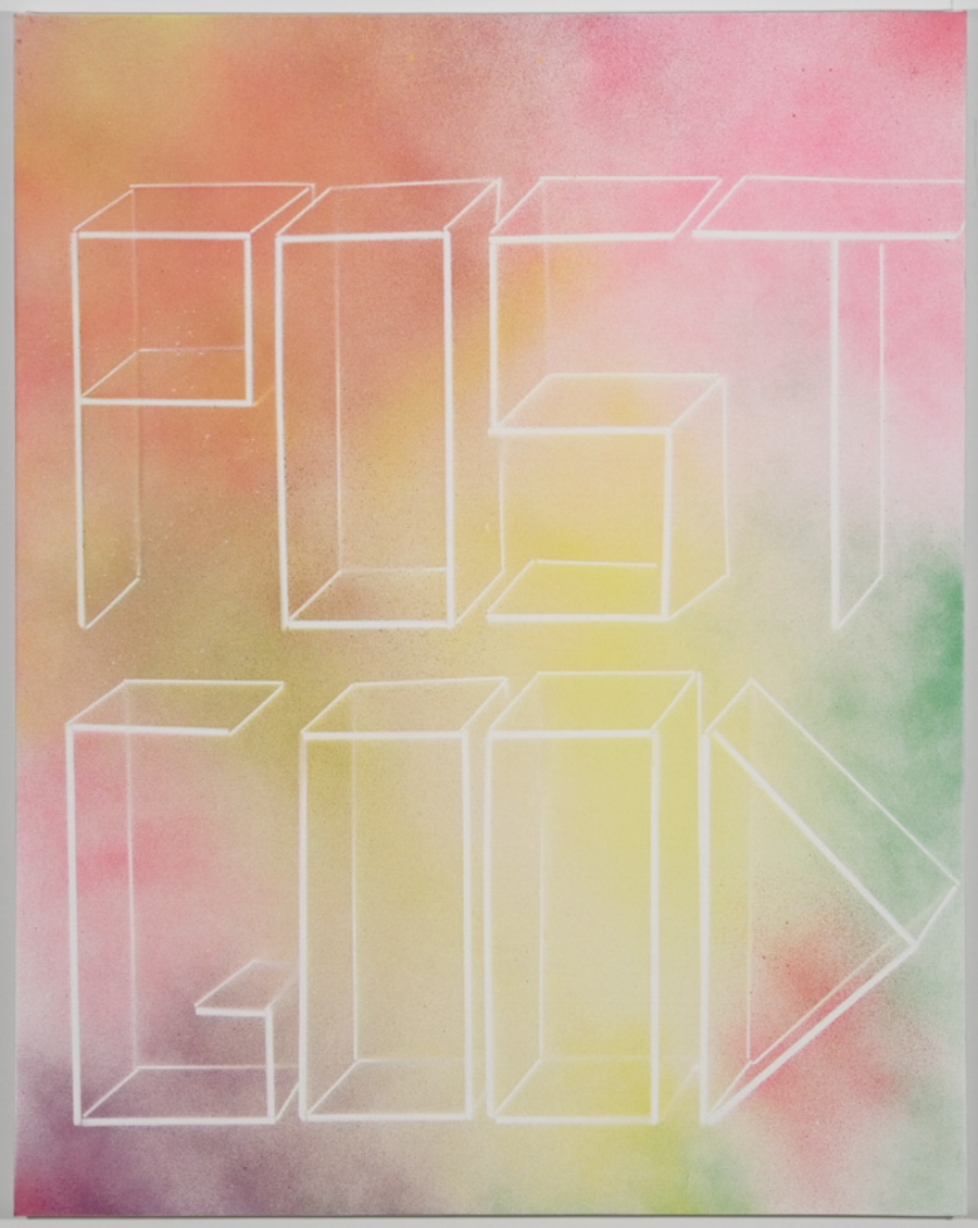Scott Reeder  -  Post Good , 2014 Acrylic and enamel on canvas 30h x 24w inches